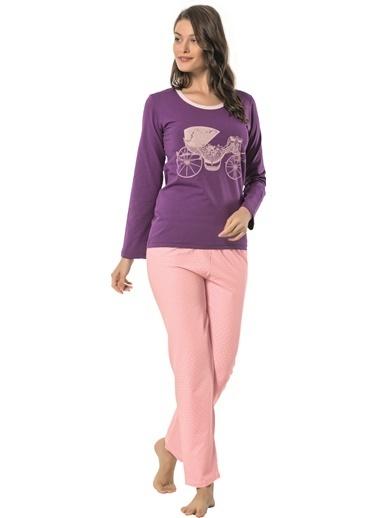 Akbeniz Pijama Takım Mor